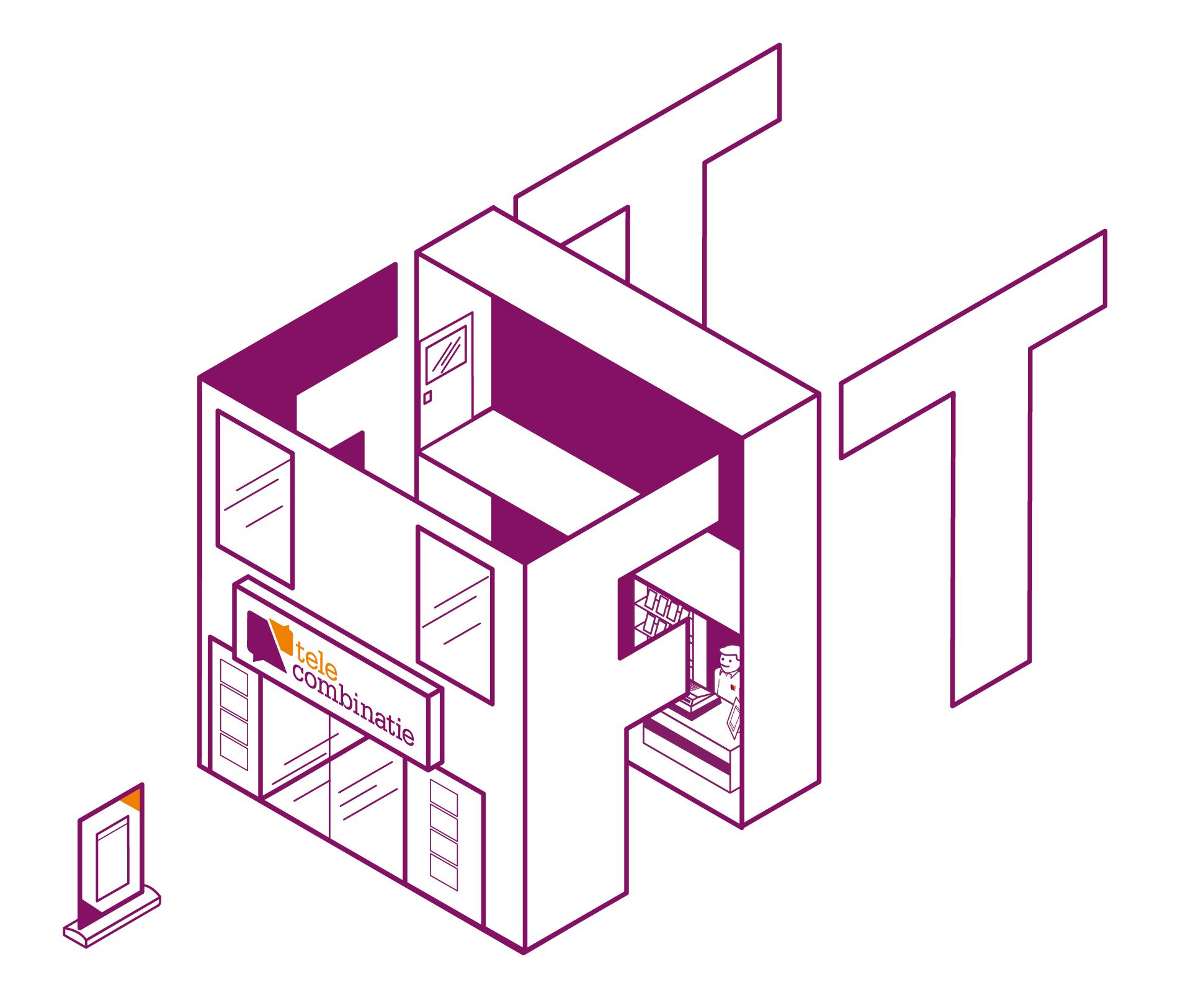 muurtekening-woonkamer-telecombinatie