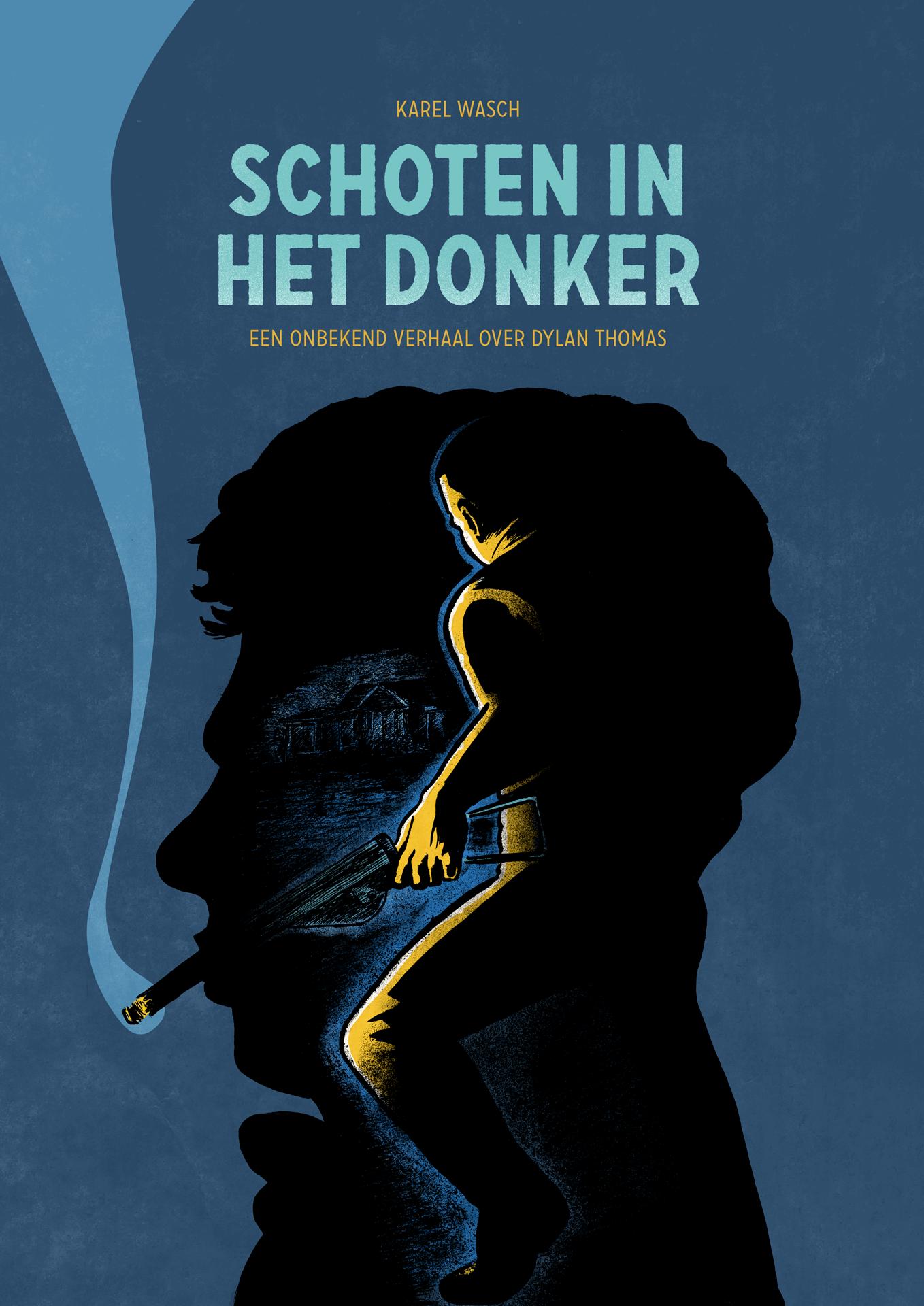 het nieuwe boek 'schoten in het donker'. Een verhaal uit het leven van de dichter Dylan Thomas.