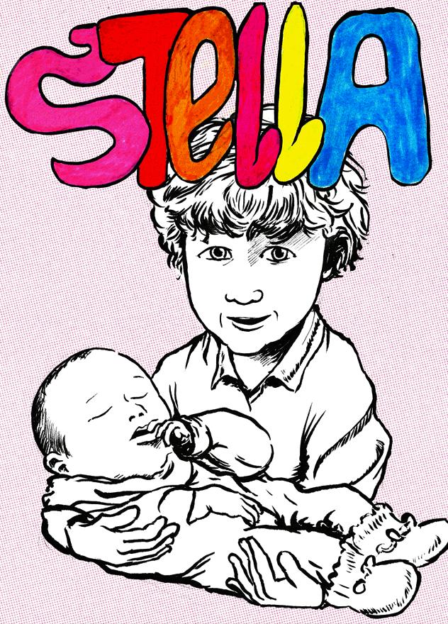 Geboorte-stripboekje gemaakt voor onze dochter Stella